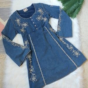 Scully Embroidered Bell Sleeve Jean Dress